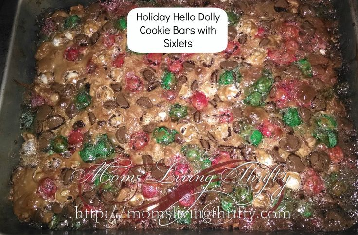 Holiday Hello Dolly Cookie Bars with Sixlets