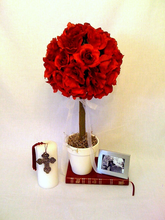 Red rose topiary table centerpiece diaper cakes