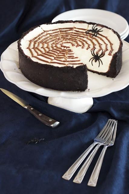 No Bake Spiderweb Cheesecake