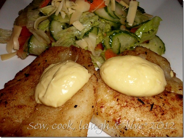 Pan fried fish with aioli and a simple salad with herb dressing