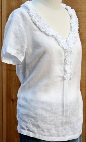 White Linen Short Sleeve Blouse 16