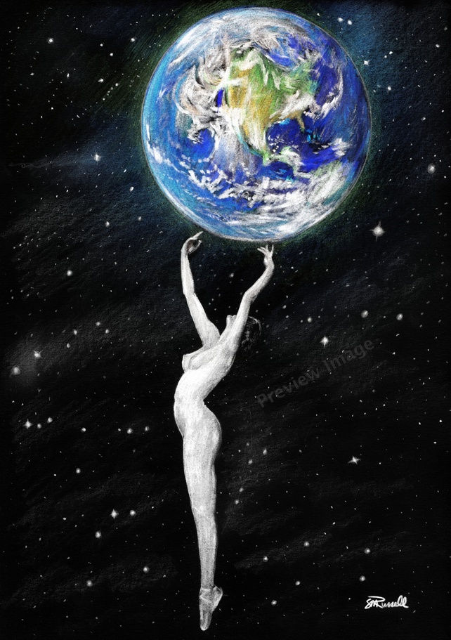 'Mother Earth' - Nude Female A4 Size ART PRINT of drawing by Russellart £4.99