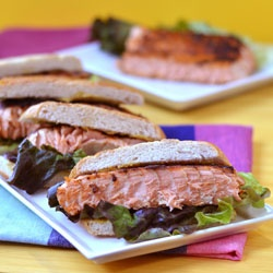 Blackened Salmon Sandwich with curry mayo - great combination