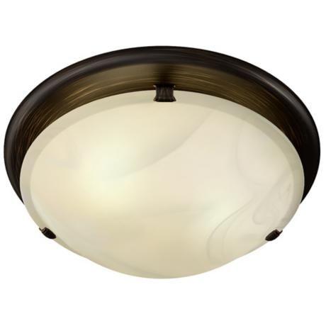 Sleek Circle Rubbed Bronze Bathroom Fan with Light | LampsPlus.com