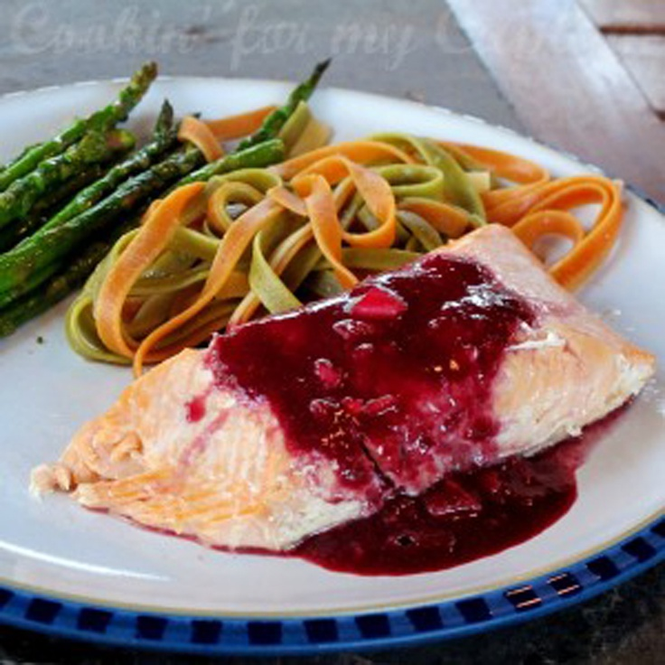 Grilled salmon with blueberry sauce I would love to try this with ...