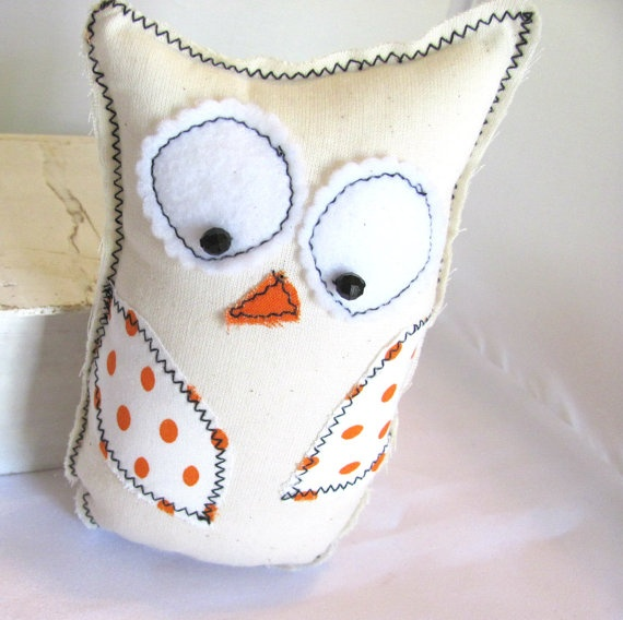 So cute with it's wonkyness!!!!!  Orange Polka Dot Owl Room DecorFolk Art Cottage by hartstringz, $18.00