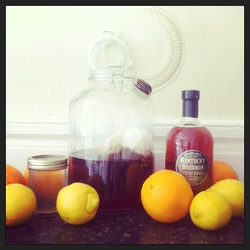 Bourbon Arnold Palmer: 2 cups boiling water, 4 earl gray tea bags, 2 ...