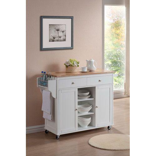 Meryland White Modern Kitchen Island Cart Wholesale Interiors Serving
