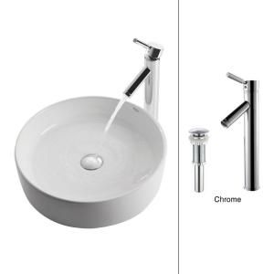 $220  Round Ceramic Sink in White with Sheven Faucet in Chrome-C-KCV-140-1002CH at The Home Depot