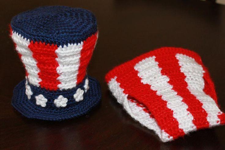 Uncle Sam Set - crochet - photo prop - pattern - product -