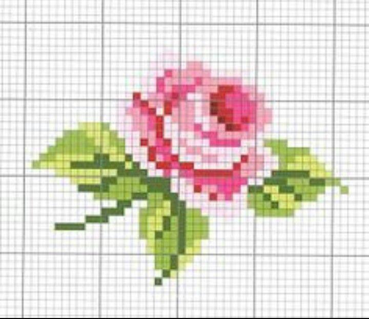 Вышивка роза крестиком лёгкая 95