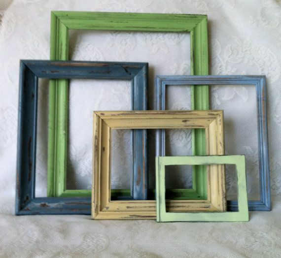 Empty Frame Collection, 5 Wooden Distressed Frames, Instant Frame