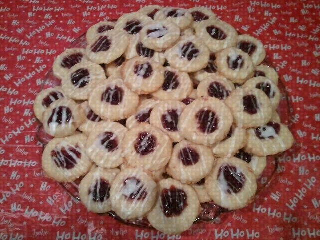 Shortbread Thumbprints with seedless Raspberry jelly and an Almond ...
