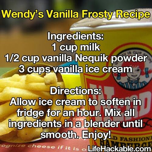 Wendy's vanilla frosty recipe | Peach 69 | Pinterest