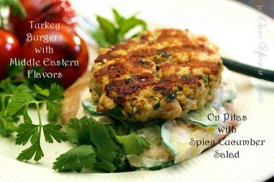 Grilled Turkey Burgers with Middle Eastern Flavors