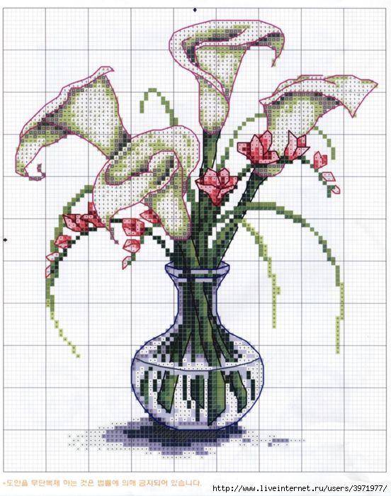 Вышивка крестом вазы схемы 45
