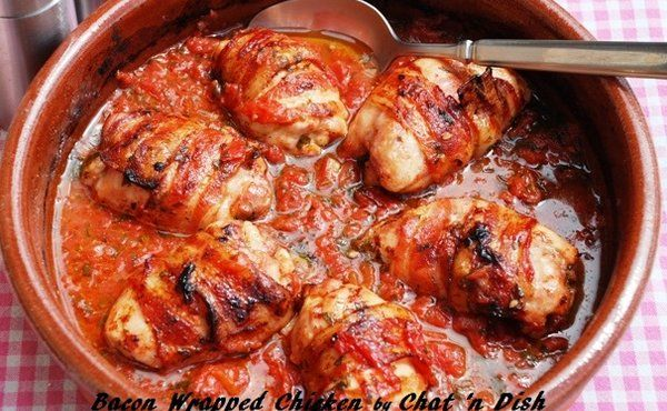 Bacon Wrapped Chicken with Tomatoes & Basil. Gonna try using turkey ...