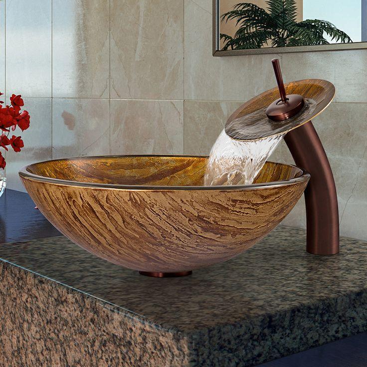 Waterfall Sink Bowl : Vigo Amber Sunset Glass Vessel Sink and Waterfall Faucet Set ...