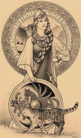 Freyja with rune mandalaFreyja Rune