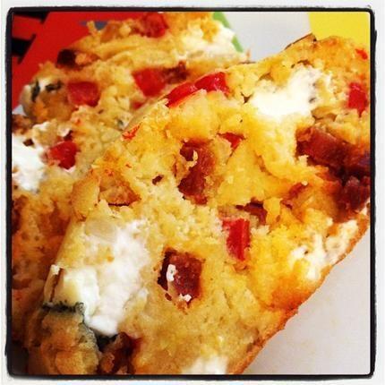 Cake poivron, chèvre et chorizo | Recettes | Pinterest