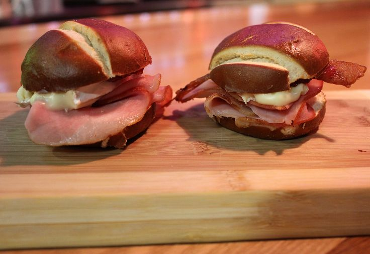 ... Bacon, thin sliced ham, and hot pepper Jelly. Served slider style