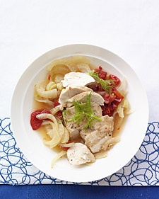 Chicken and fennel braised in white wine. Low fat, full of flavor.