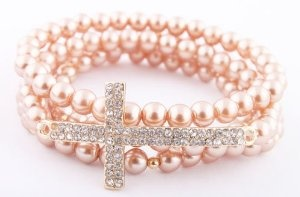 Ladies Champagne with Gold Iced Out Sideways Cross Style Beaded Stretch Bundle Bracelet