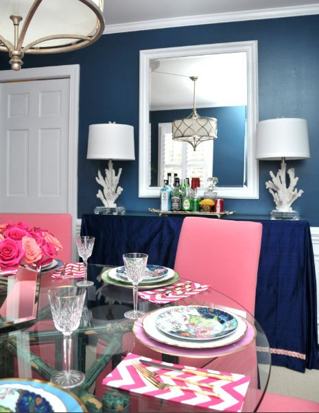 furbish pink and navy dining room  Screen shot 2012-07-24 at 9.23.24 PM by jamie meares, via Flickr