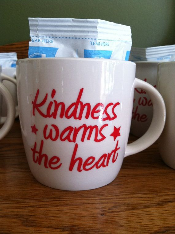 Custom Kindness warms the heart Vinyl Mug by PersonalizedJewellz