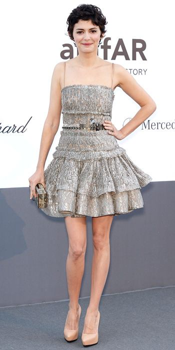 Audrey Tautou in silver Lanvin cocktail dress in Cannes 2013