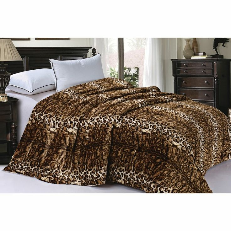 Bnf home leopard animal sherpa queen faux fur bedding bed blanket 84in