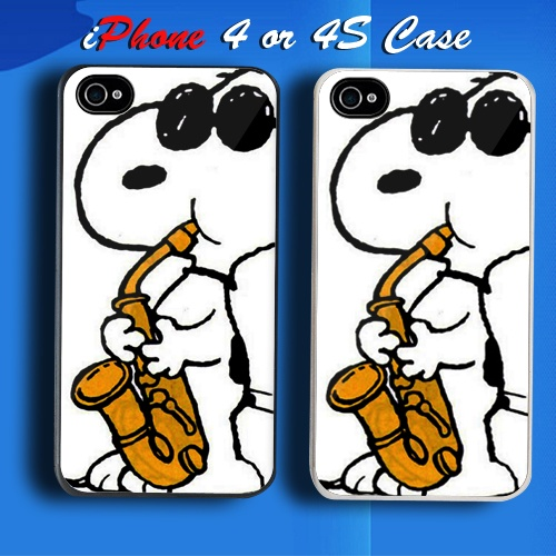 Cool Snoopy Saksofon Jazz Music Custom iPhone 4 or 4S Case Cover