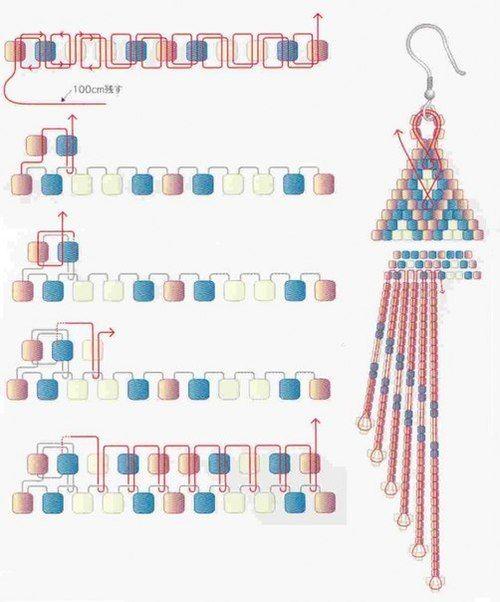 Схемы кирпичного плетения сережек из бисера