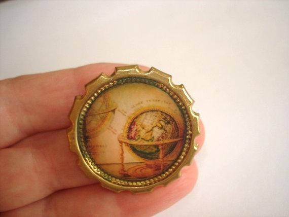 globe brooch on Etsy $12.99