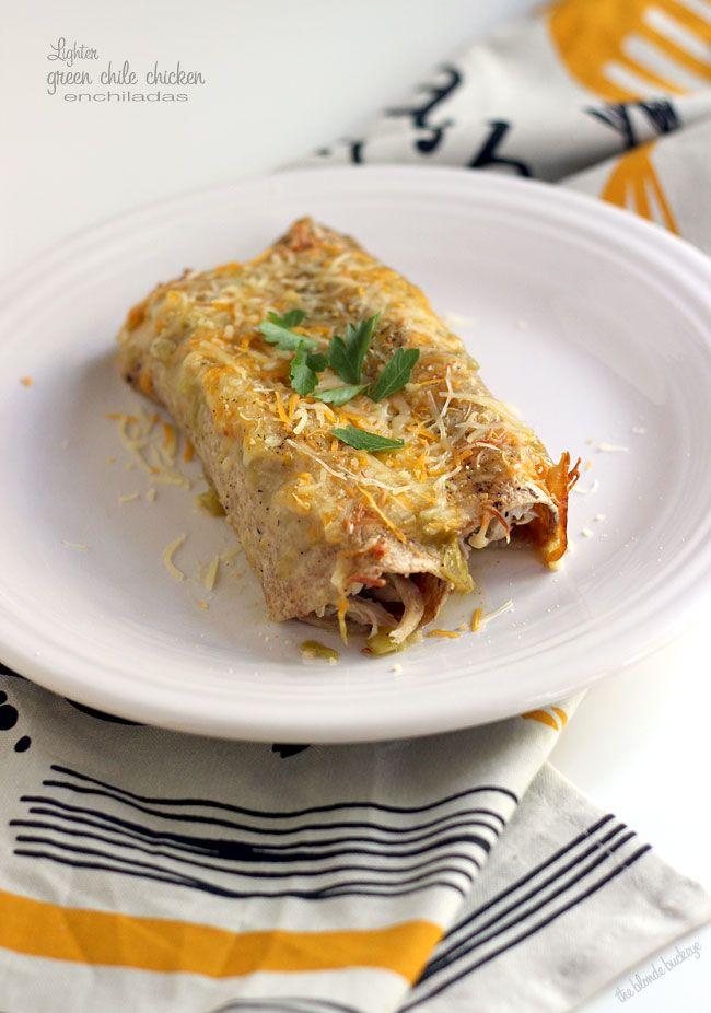 Lighter Green Chile Chicken Enchiladas | The Blonde Buckeye