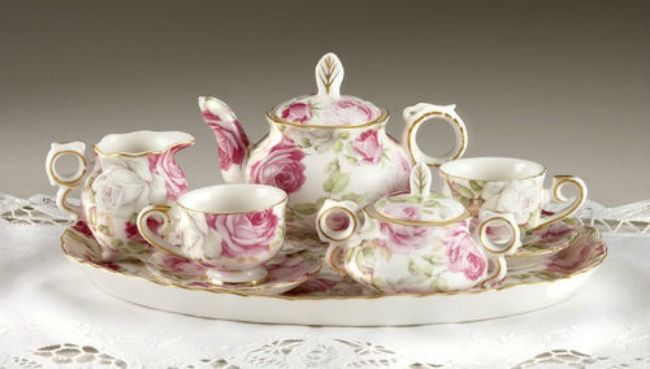 tea set vintage roses wallpaper - photo #28