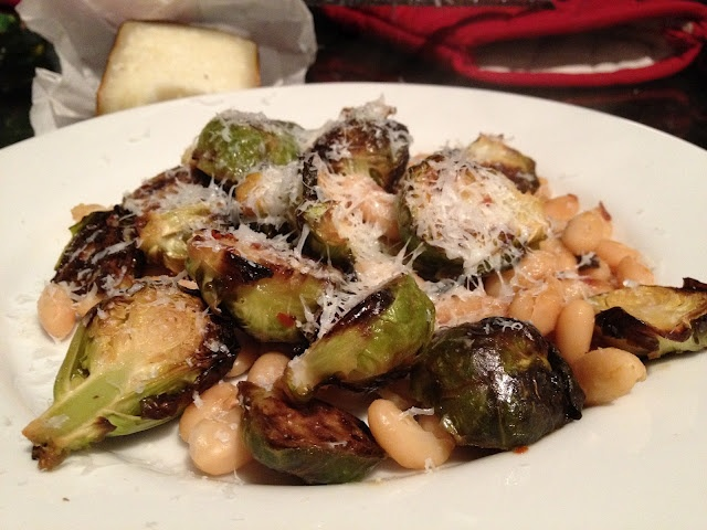 BRUSSEL SPROUTS WITH WHITE BEANS AND PECORINO