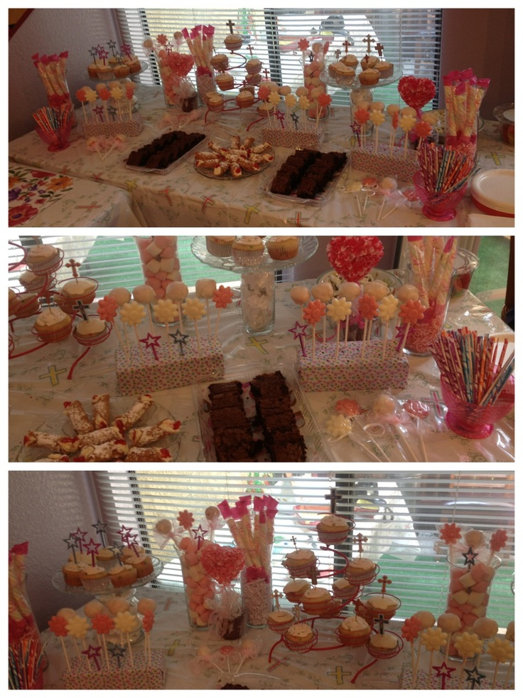 Photograph first communion dessert table created by ang for Table 52 dessert