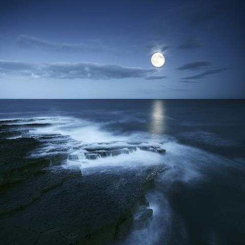 MOON LIGHT SHINNING OVER WATER.