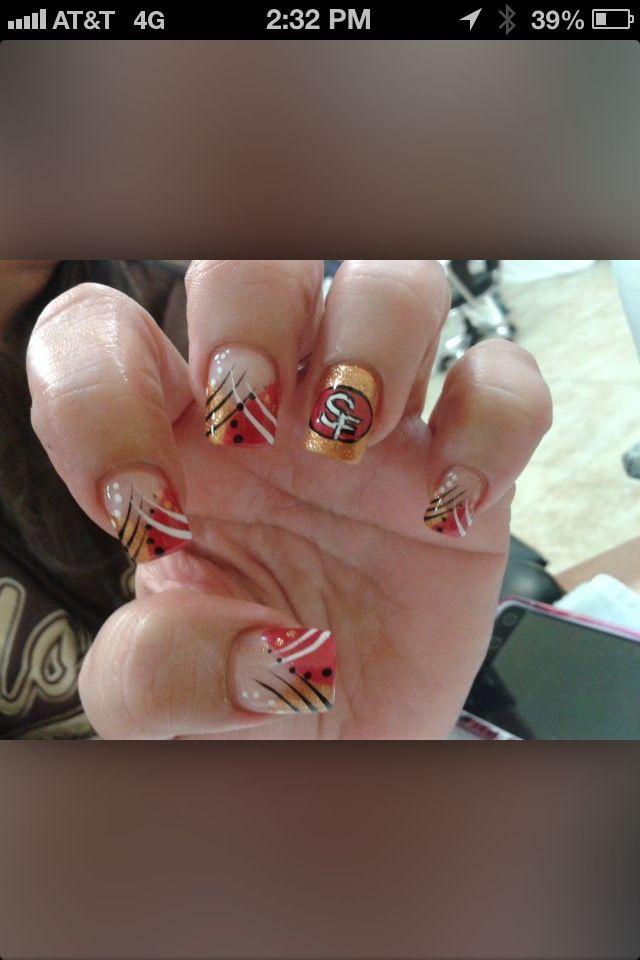 49ers Nail Art   Cute Nail Art   Pinterest