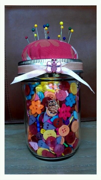 Mason jar pincushion, made by Tawny Smith.