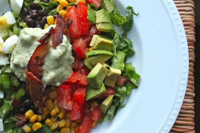 Mexican Cobb Salad - dressing is simple/healthy - just avocado, greek ...