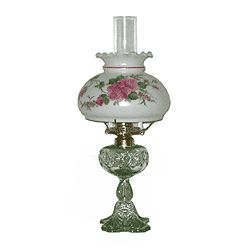 old fashioned hand painted oil lamps have pink rose student lamp. Black Bedroom Furniture Sets. Home Design Ideas