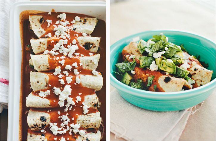 ROASTED ZUCCHINI, BLACK BEAN + GOAT CHEESE ENCHILADAS - SPROUTED KITCHEN - A Tastier Take on Whole Foods