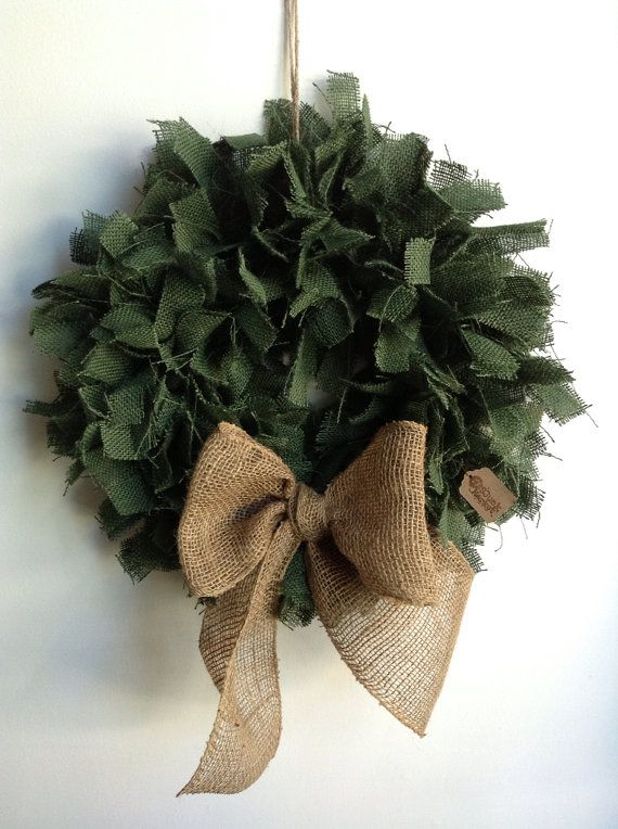 Burlap Christmas Wreath Green burlap Wreath by JBJunkMarket, $45.00