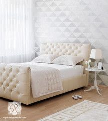 Allover Geometric Wall Stencil Step Up Triangles - Royal Design Studio Stencils - www.royaldesignstudio.com