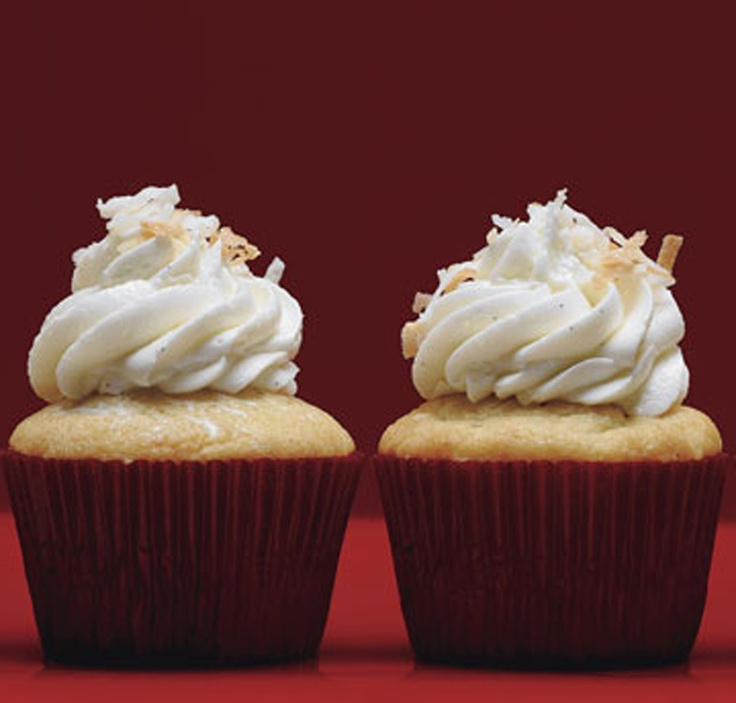 Vanilla Bean-Coconut Cupcakes with Frosting | Recipe