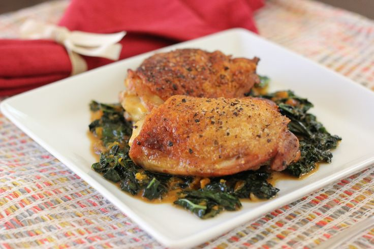 Crispy Chicken Thighs with Kale in a Clementine Sauce # ...