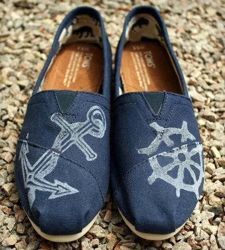 Printed Nautical Toms Shoes.
