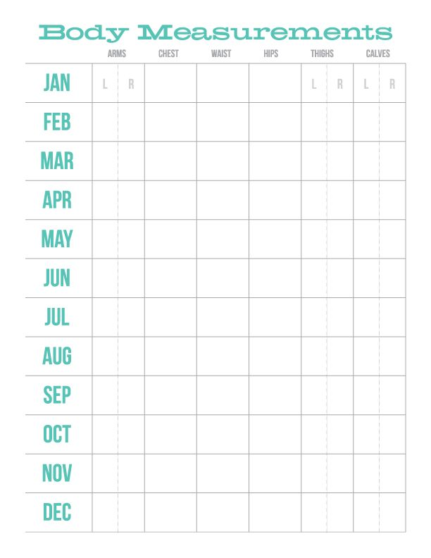 Download+Print Monthly Body Measurements Chart
